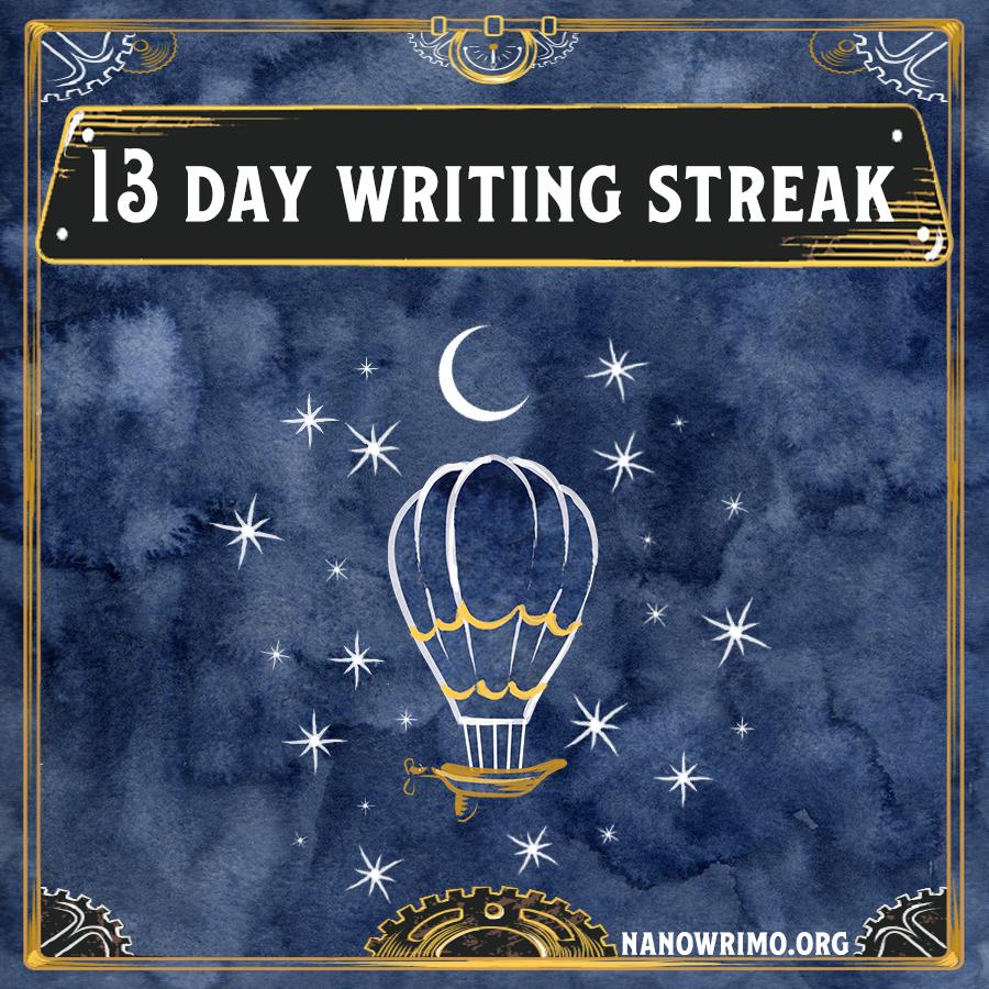 Day 13 writing badge