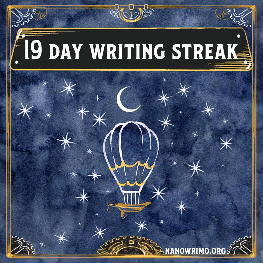 Day 19 writing badge