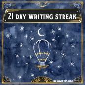 Day 21 writing badge